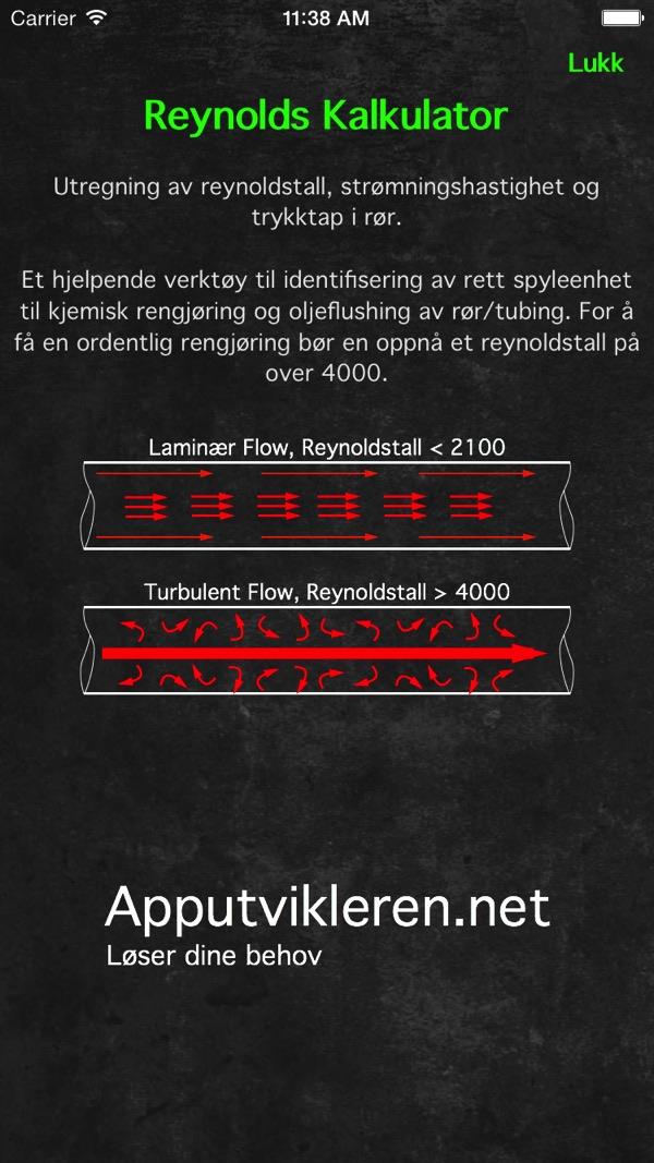 Skjermbilde Reynoldstall Kalkulator